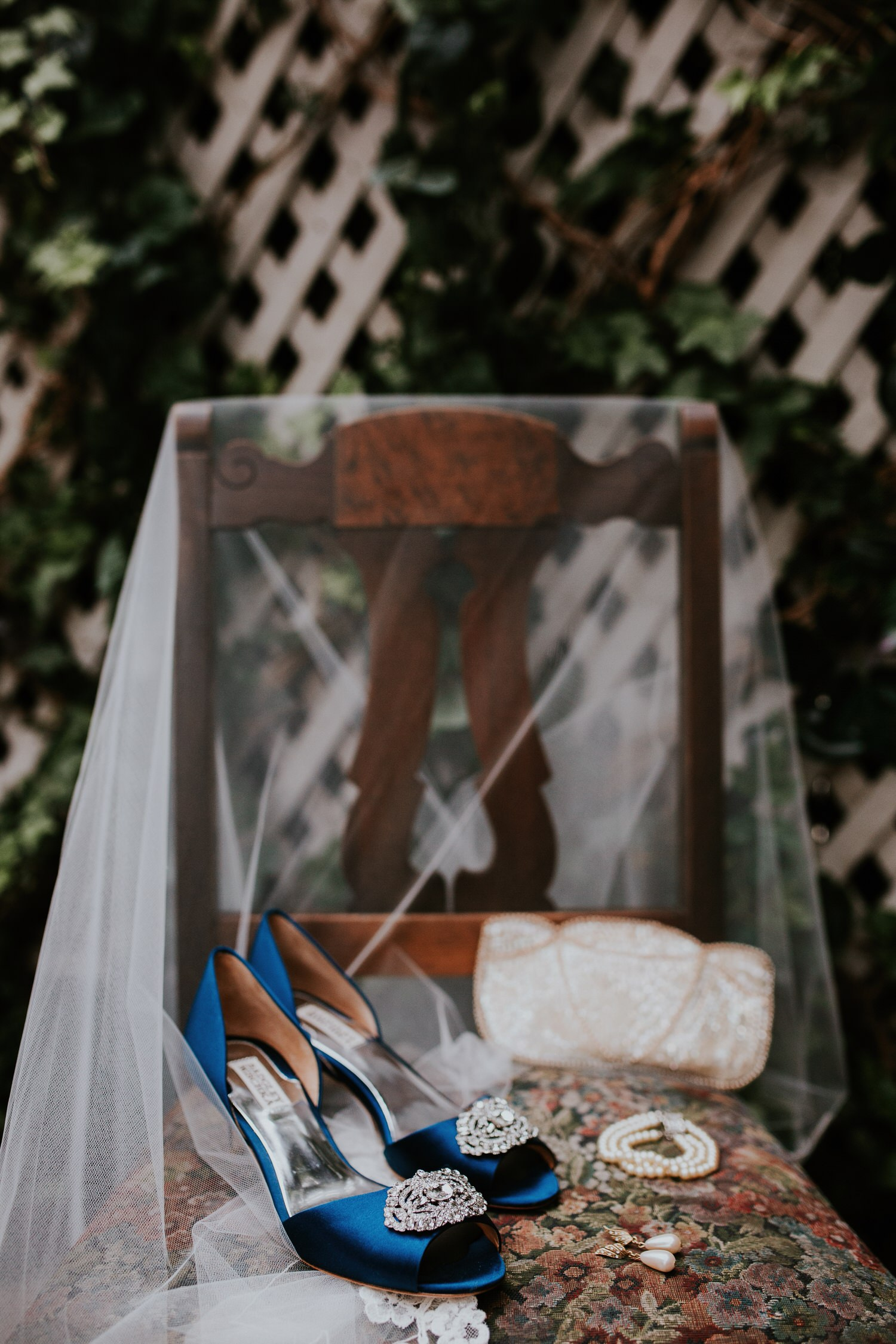 Pelican Inn bridal details something blue Badgley Mischka shoes