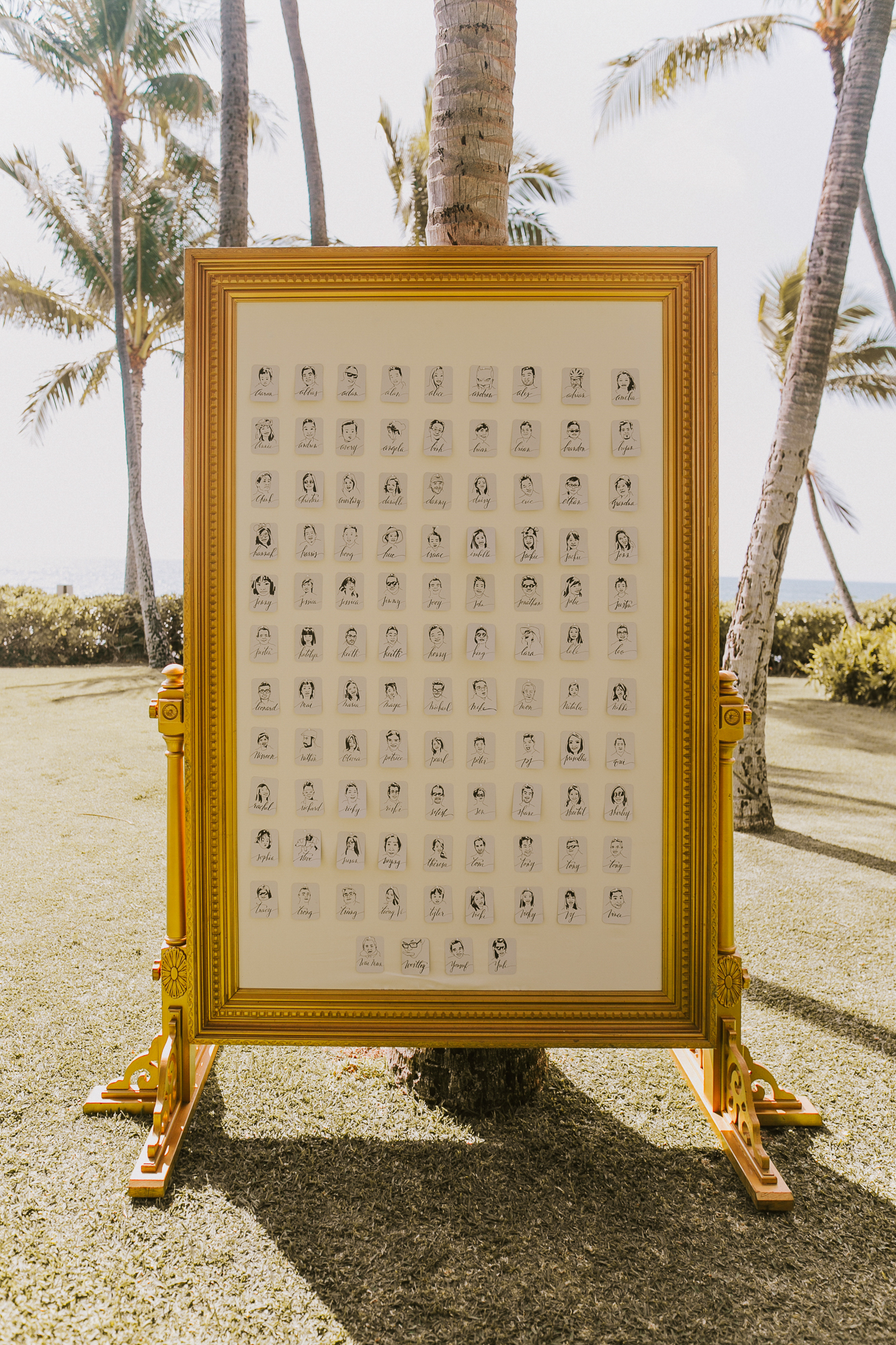 Lanikuhonua Phase 2 Wedding Hawaii Ceremony Caricature Escort Card Wall