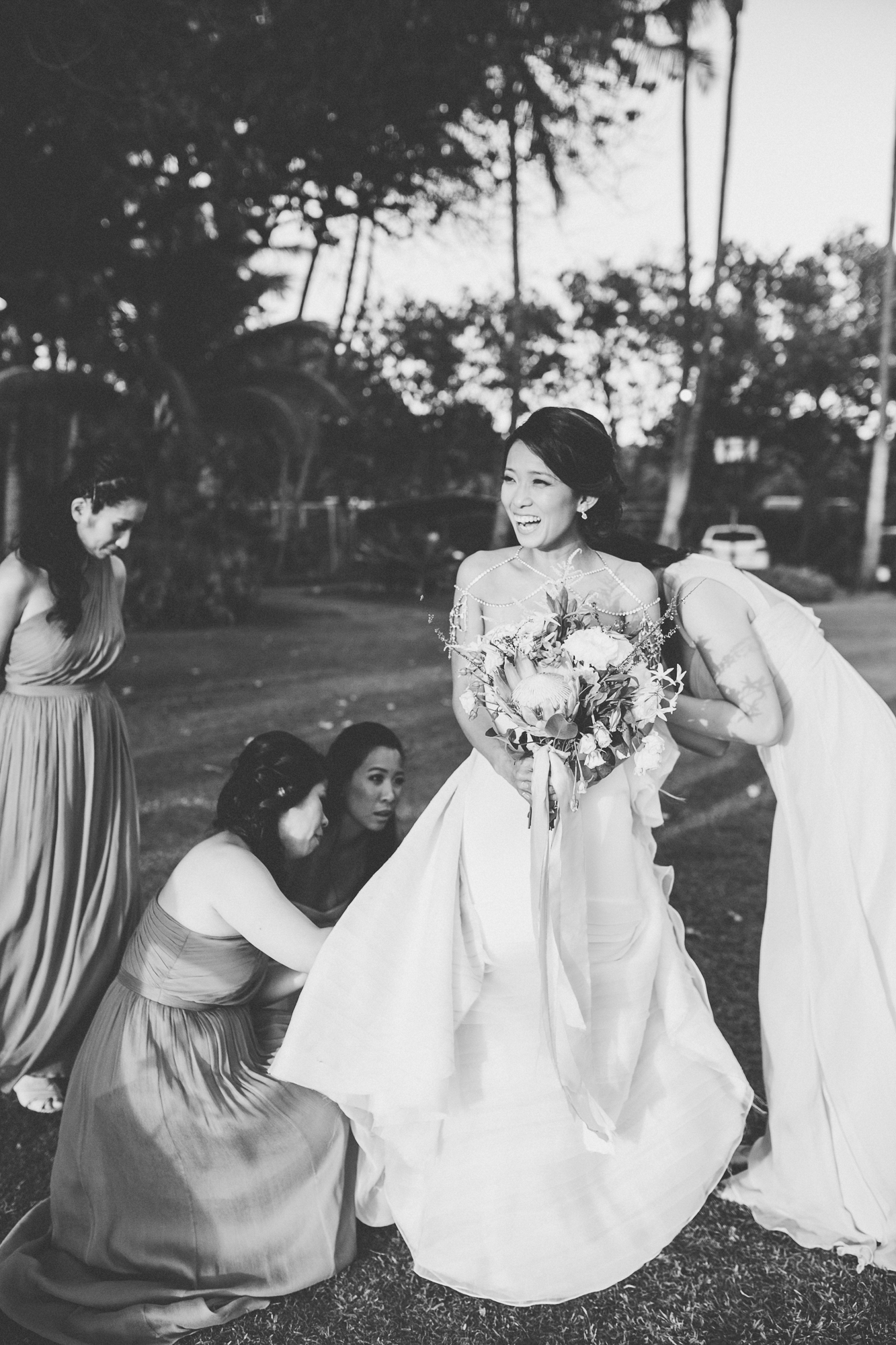 Lanikuhonua Phase 2 Wedding Hawaii Ceremony Bridesmaids JCrew