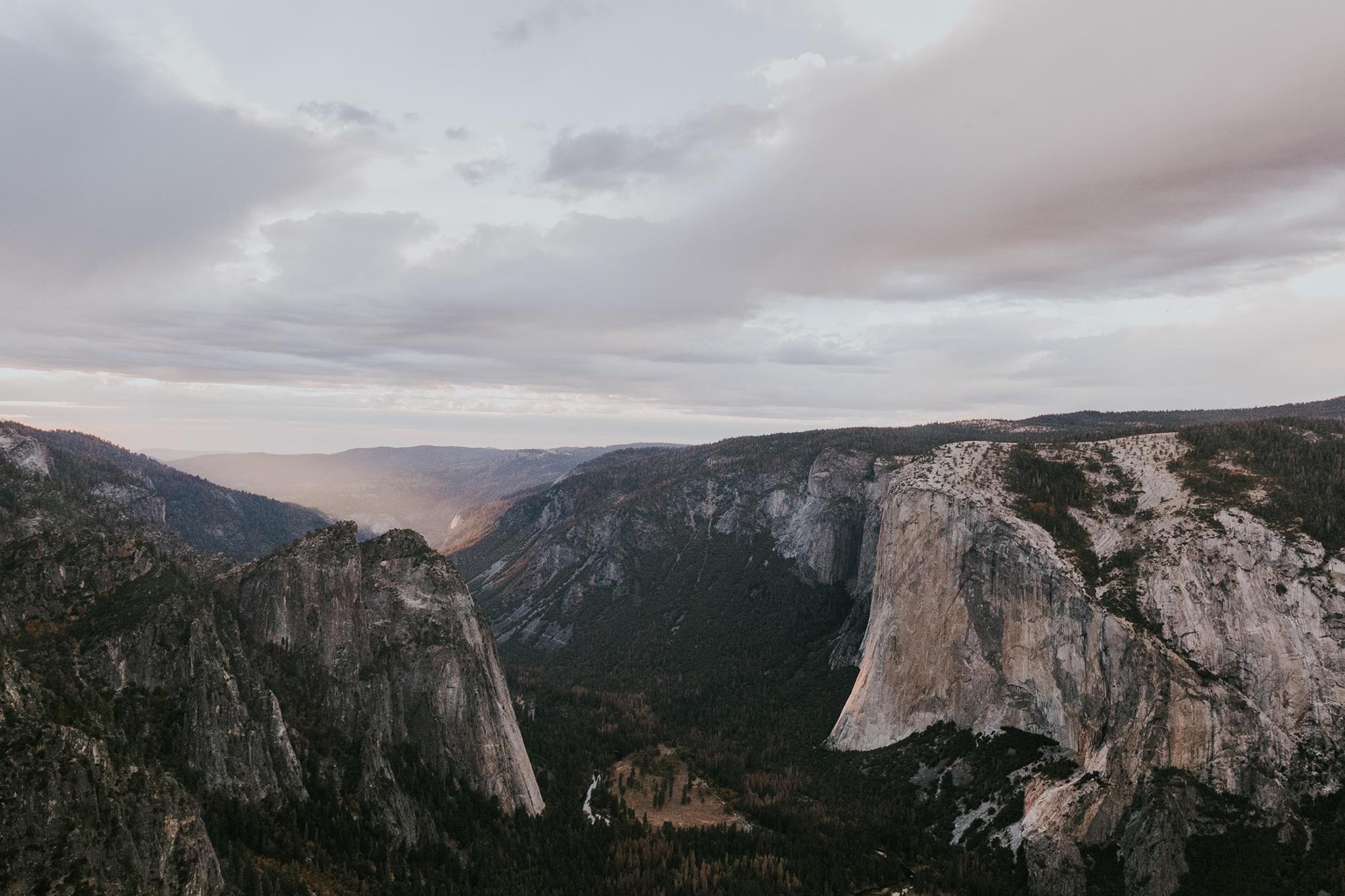 Sunset Yosemite Elopement Wedding Taft Point Half Dome Fall